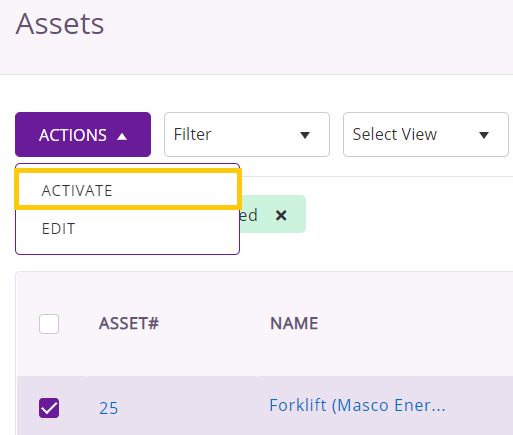 activate retired asset
