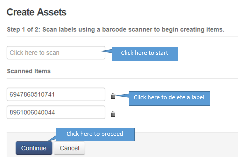 scan label to create an asset