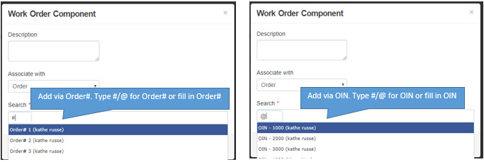 add order id or order# to work order