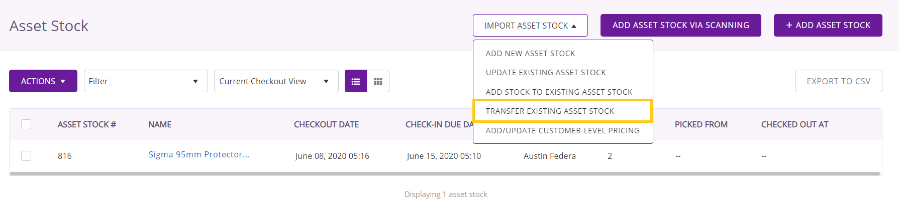 Transfer existing asset stock