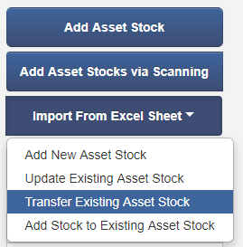 transfer bulk stock excel import button